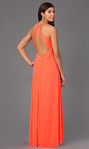 Image of long sleeveless jewel embellished empire waist neon coral dress Style: MY-2254SJ1S Back Image