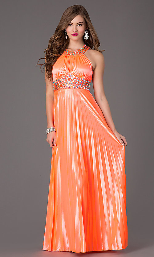 Image of floor length neon coral jewel embellished waistline pleated dress Style: MY-6640SK1S Front Image