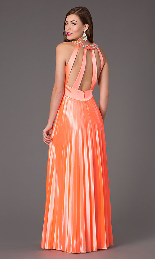 Image of floor length neon coral jewel embellished waistline pleated dress Style: MY-6640SK1S Back Image