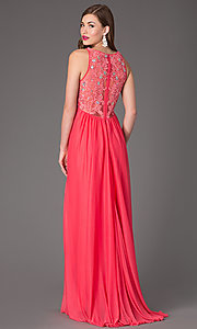 Image of long v-neck sleeveless embellished lace-back dress Style: MY-2301SJ1S Front Image