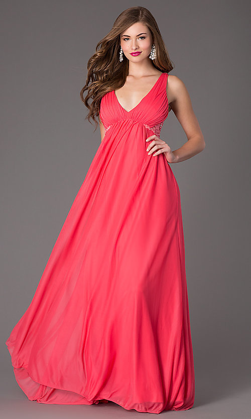 Image of long v-neck sleeveless embellished lace-back dress Style: MY-2301SJ1S Detail Image 1