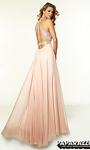 Image of Mori Lee V-Neck Long Lace Prom Gown Style: ML-97018 Back Image