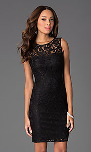 Image of short sleeveless lace scoop neck dress Style: DQ-8767 Detail Image 2