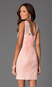 Image of short sleeveless lace scoop neck dress Style: DQ-8767 Back Image