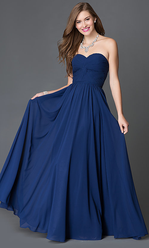 Image of Strapless Prom Dress with Lace Up Back Style: DQ-8789 Detail Image 1