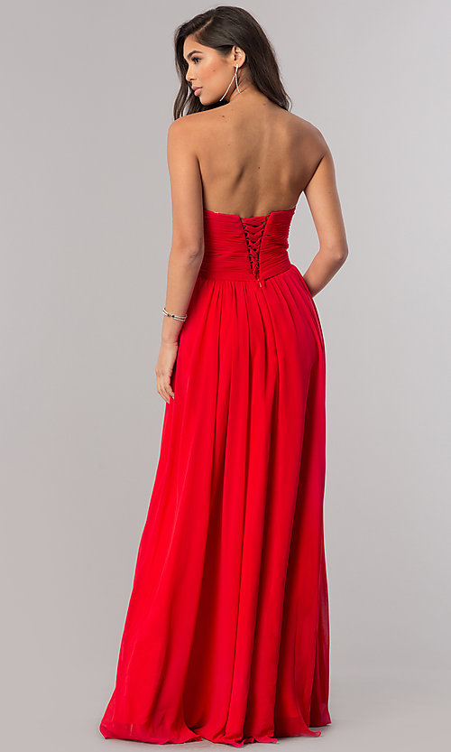 Image Of Strapless Prom Dress With Lace Up Back Style Dq 8789