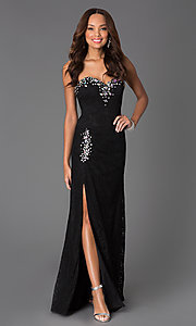 Image of long corset-back lace prom dress with ruched waist. Style: DQ-8771 Front Image