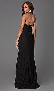 Image of long corset-back lace prom dress with ruched waist. Style: DQ-8771 Back Image