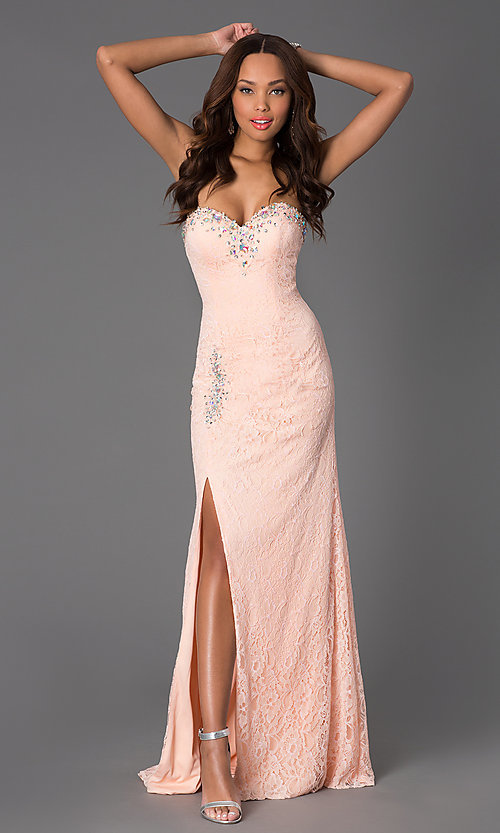 Image of long corset-back lace prom dress with ruched waist. Style: DQ-8771 Detail Image 1
