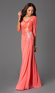 Image of three quarter length sleeve v-neck chiffon skirt lace top jewel hip detailed dress Style: DQ-8823 Front Image