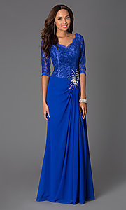 Image of three quarter length sleeve v-neck chiffon skirt lace top jewel hip detailed dress Style: DQ-8823 Detail Image 1