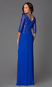 Image of three quarter length sleeve v-neck chiffon skirt lace top jewel hip detailed dress Style: DQ-8823 Back Image