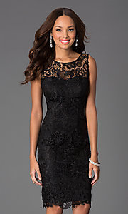 Image of knee-length lace v-back sleeveless cocktail dress. Style: DQ-8842 Front Image