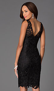 Image of knee-length lace v-back sleeveless cocktail dress. Style: DQ-8842 Back Image
