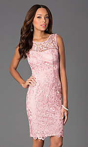 Image of knee-length lace v-back sleeveless cocktail dress. Style: DQ-8842 Detail Image 2