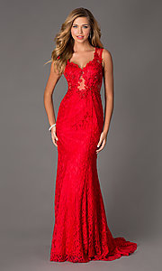 Image of floor-length v-neck sleeveless lace prom dress. Style: SSD-3020 Front Image