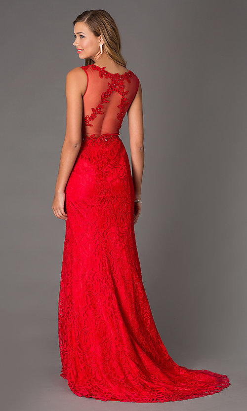 Image of floor-length v-neck sleeveless lace prom dress. Style: SSD-3020 Back Image