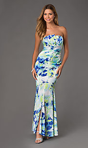 Floor Length Strapless Print Dress by Jump