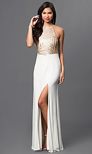 Sleeveless Long Open-Back Dress with Sequined Bodice