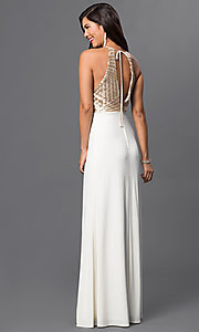 Image of sleeveless long open-back dress with sequined bodice. Style: MQ-8020157 Back Image