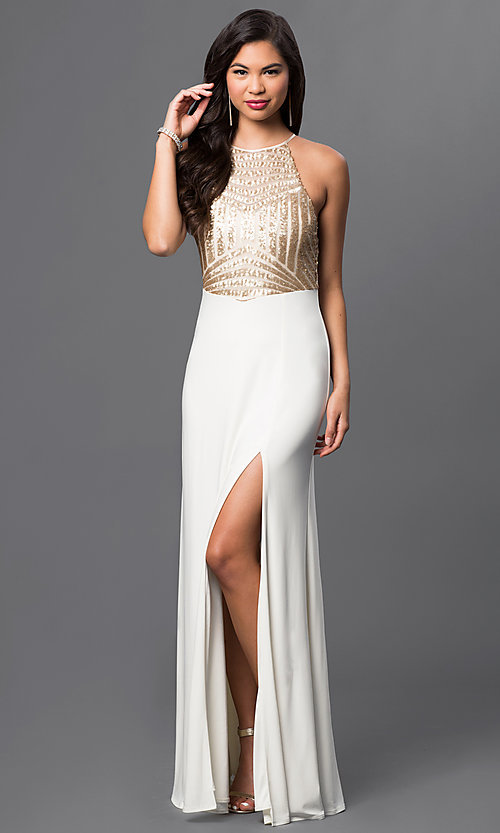 Image of sleeveless long open-back dress with sequined bodice. Style: MQ-8020157 Front Image