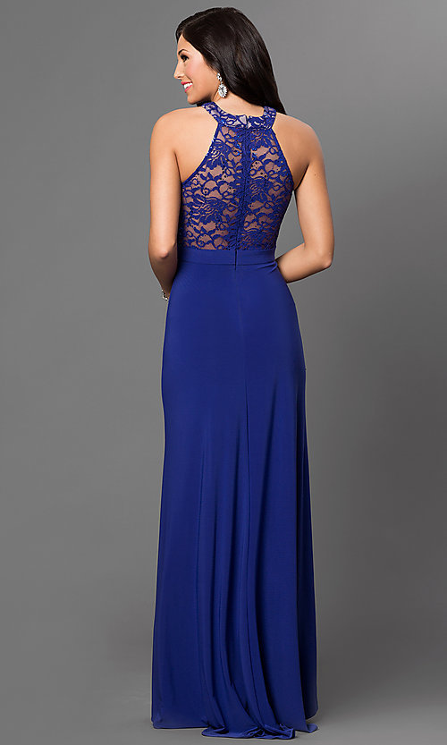Image of long slit-skirt formal dress with lace  Style: MO-12028 Back Image