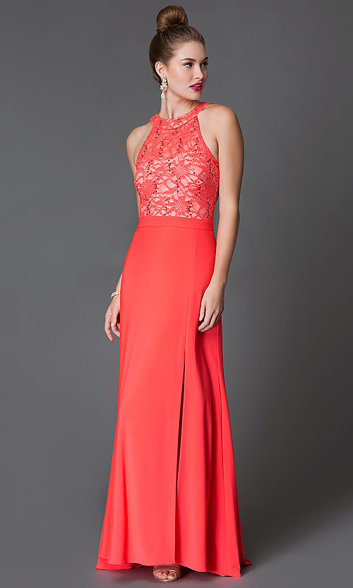 Image of long slit-skirt formal dress with lace  Style: MO-12028 Front Image