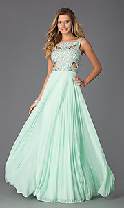 Image of long sleeveless beaded dress with pleated skirt Style: BA-A14579 Front Image