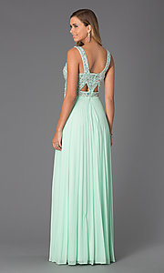 Image of long sleeveless beaded dress with pleated skirt Style: BA-A14579 Back Image