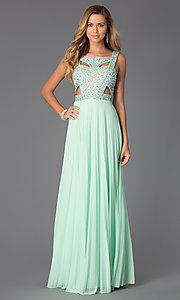 Image of long sleeveless beaded dress with pleated skirt Style: BA-A14579 Detail Image 1