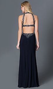 Image of beaded high-neck open-back dress by Betsy and Adam. Style: BA-A14728 Back Image