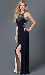 Image of beaded high-neck open-back dress by Betsy and Adam. Style: BA-A14728 Front Image