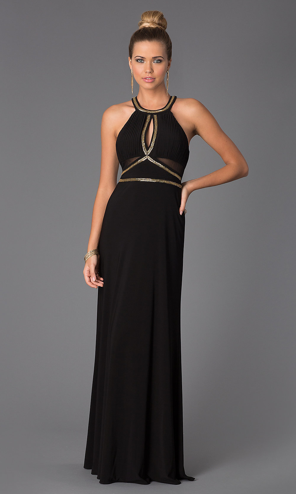 floor length black dress