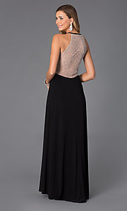 Image of Halter Long Sheer Back Black Prom Dress  Style: MO-12015 Back Image