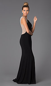 Image of Long Black Gown for Prom Style: X-XS5844 Detail Image 1
