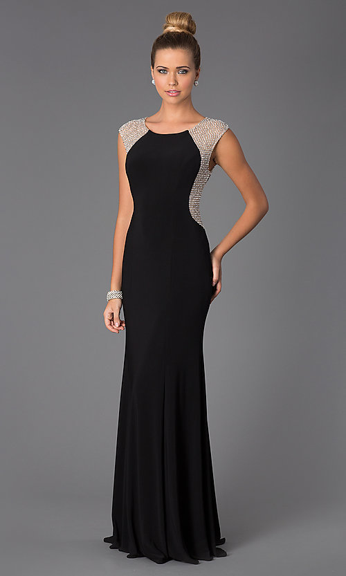 1a4c936144 Image of Long Black Gown for Prom Style  X-XS5844 Front Image