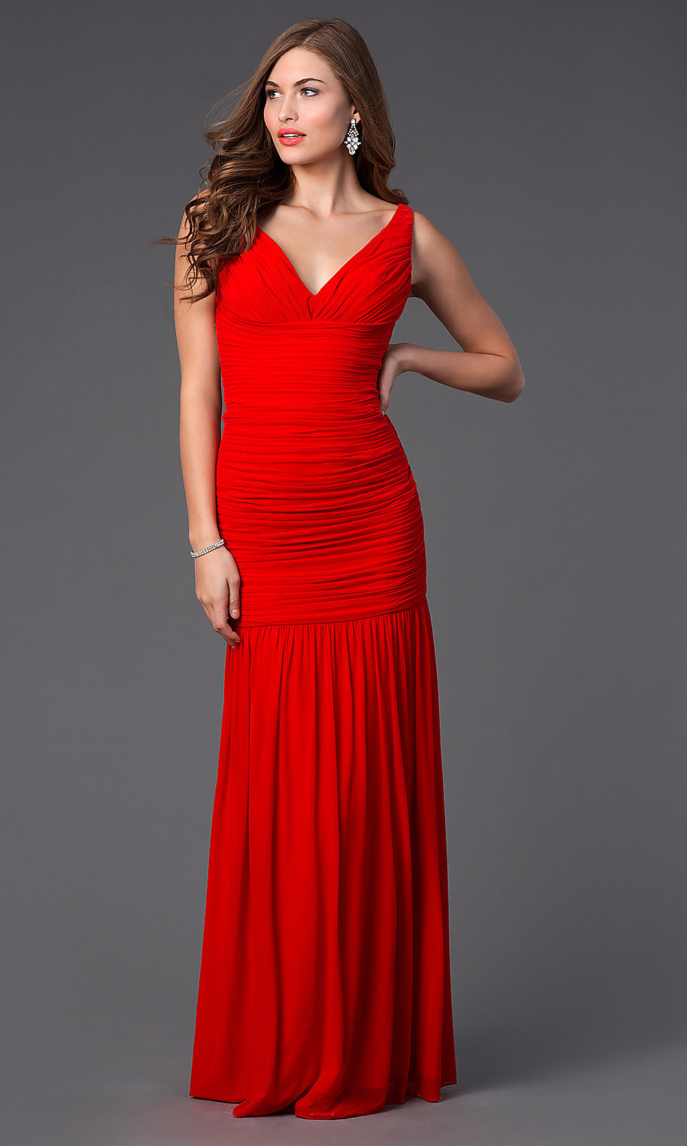 Red Ruched Illusion-Back Prom Dress - PromGirl