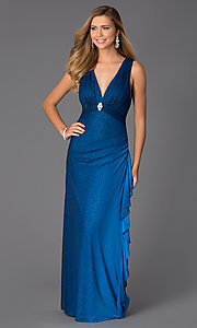 Image of Blondie Nights sleeveless v-neck long dress Style: BN-55119 Front Image