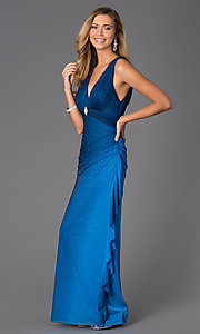 Image of Blondie Nights sleeveless v-neck long dress Style: BN-55119 Detail Image 1