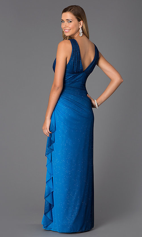 Image of Blondie Nights sleeveless v-neck long dress Style: BN-55119 Back Image