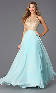 Image of floor length aqua sleeveless gold lace bodice evening dress Style: BL-PG007 Back Image
