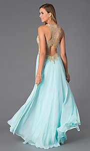 Image of floor length aqua sleeveless gold lace bodice evening dress Style: BL-PG007 Front Image