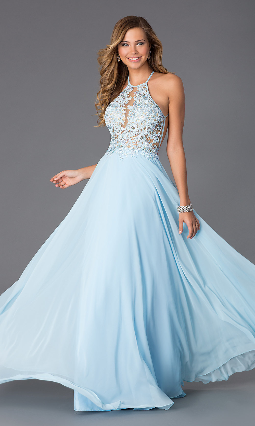 Long Beaded Blush Prom Dress 9989