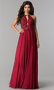 Image of Blush  Long Lace Open Back Prom Dress  Style: BL-PG006 Detail Image 1
