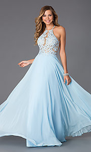 Image of Blush  Long Lace Open Back Prom Dress  Style: BL-PG006 Front Image