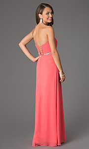 Image of long strapless prom dress with pleated bodice. Style: DQ-8747 Back Image