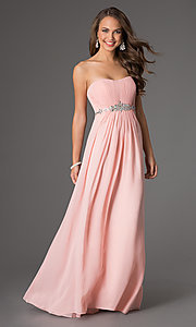 Long Strapless Prom Dress with Pleated Bodice