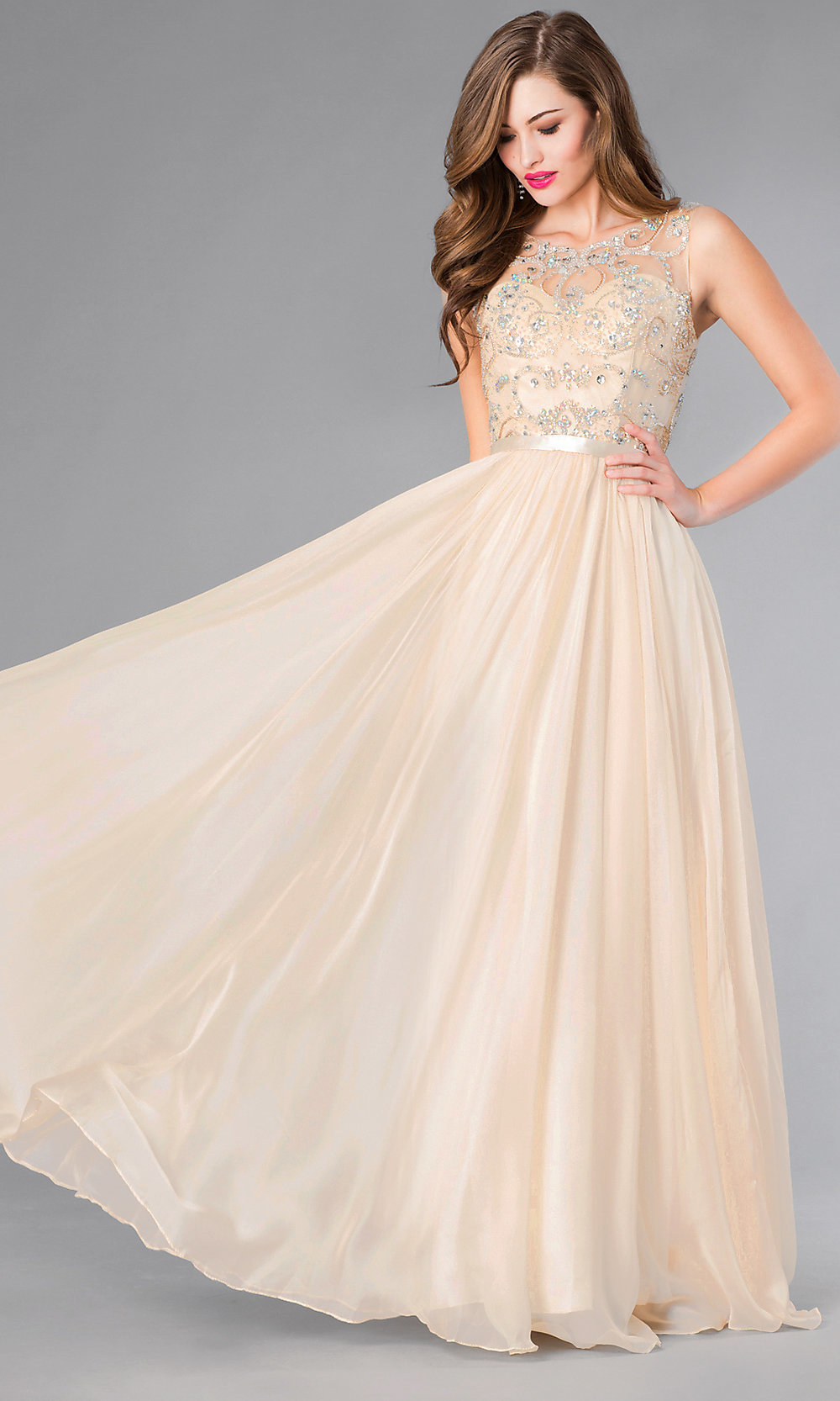 Long Sleeveless Prom Dress, Jeweled Evening Gown