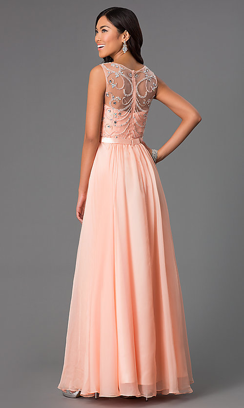 Image of Jeweled Long Sleeveless Prom Dress  Style: DQ-8736 Back Image