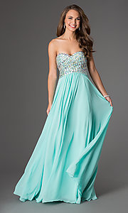 Long Sleeveless Green Prom Dress - PromGirl